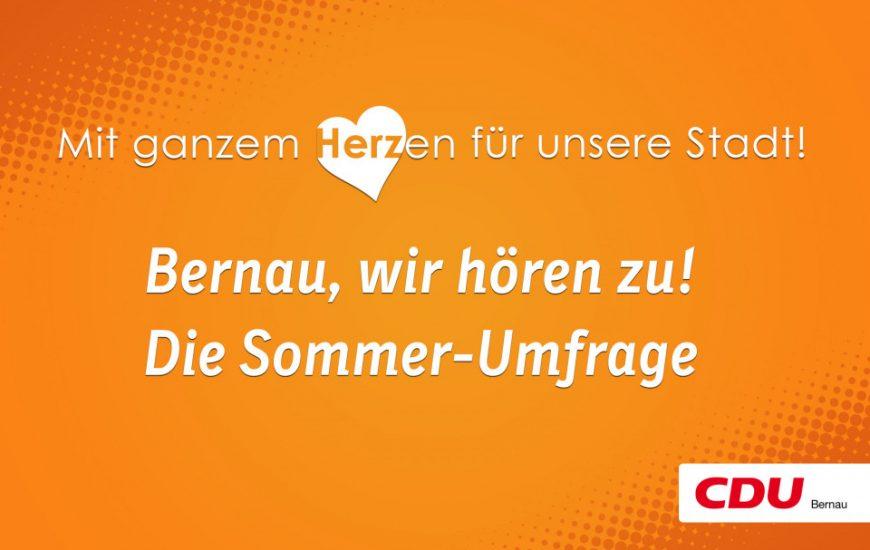"""""""Bernau, wir hören zu!"""" – CDU startet Sommer-Umfrage"""