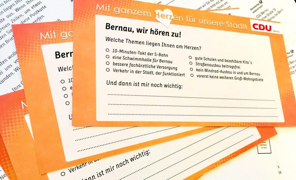 CDU Sommer-Umfrage: Bernau wir hören zu!