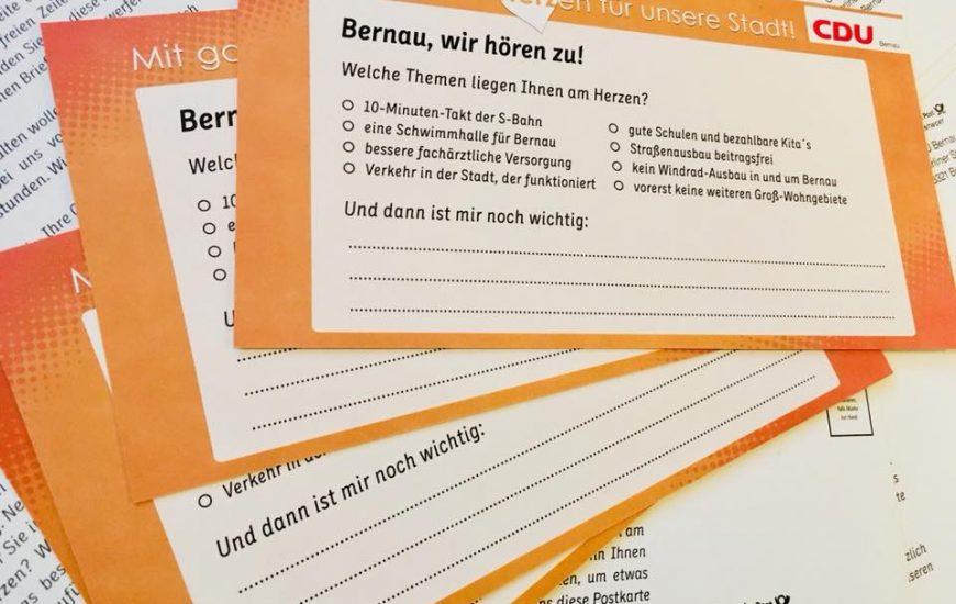 """Ergebnispräsentation der CDU-Sommerumfrage """"Bernau, wir hören zu!"""""""